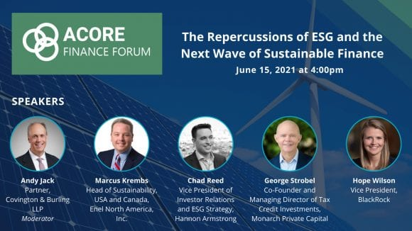 Monarch's Co-Founder George Strobel Speaks on ESG Panel at ACORE 2021 Finance Forum